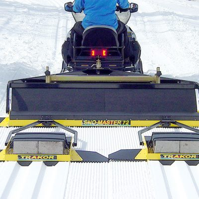 side by side ski tracks laid for racing courses or just enjoying the snow.